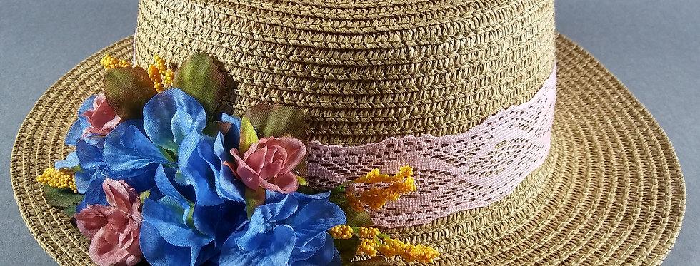 Coffee Hat w/Pink & Cornflower Blue Florals
