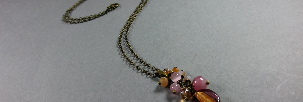 Luminous Pink Focal w/Cream Necklace