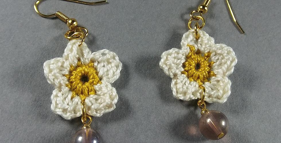 White Floral Crochet Earrings