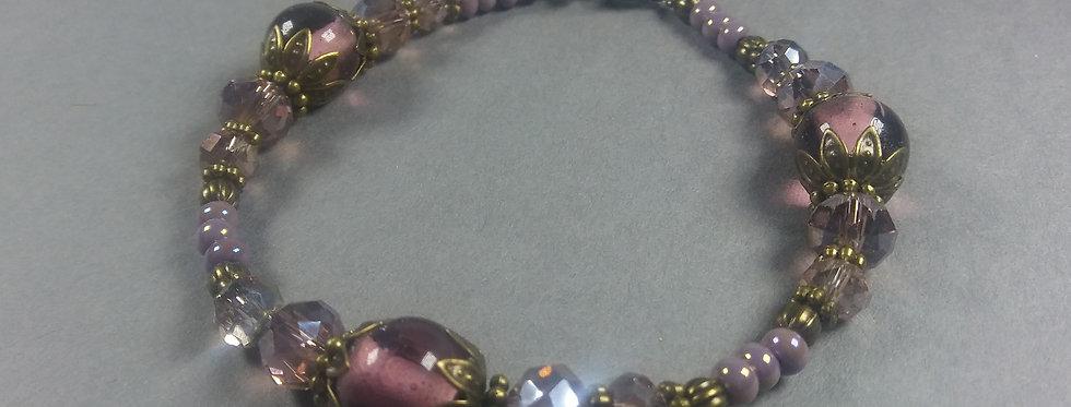 Antique & Pink Beaded Bracelet