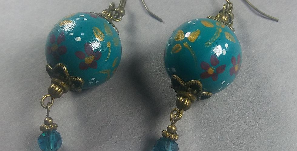Handpainted Teal Earrings
