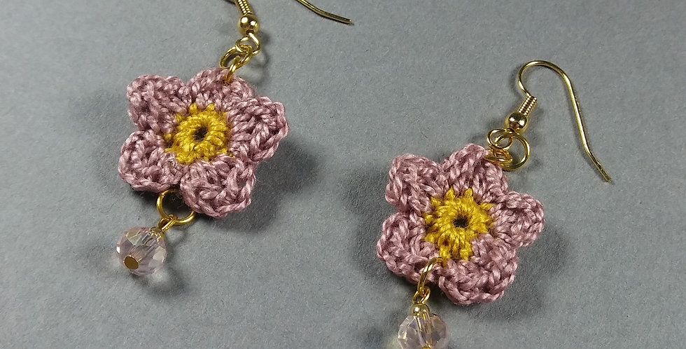 Pink Floral Crochet Earrings