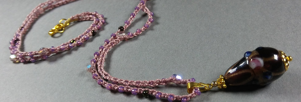 Lavender, Purple & Gold Crochet Necklace