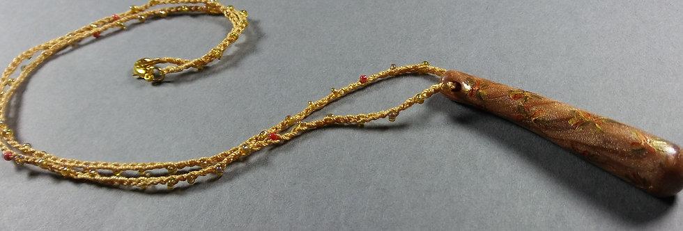 Stardrop Goldenrod Clay Crochet Necklace