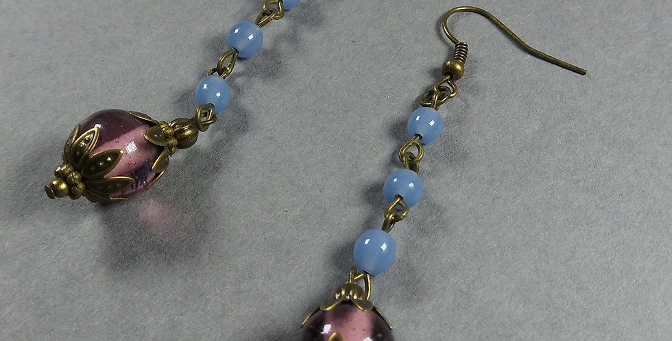 Mauve & Ice Teardrop Earrings