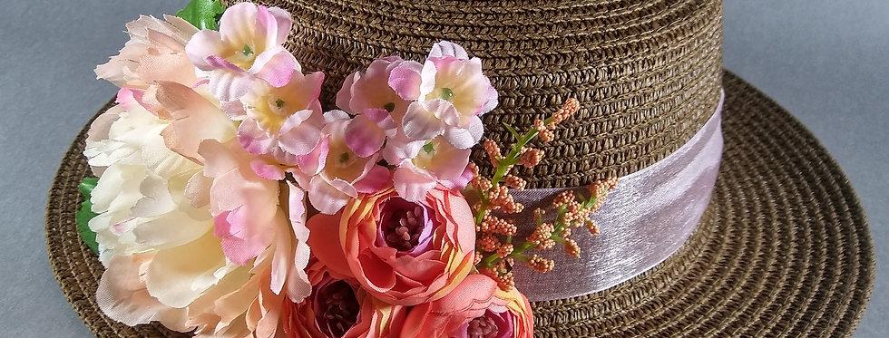 Chocolate Hat w/Purple& Pink Flowers