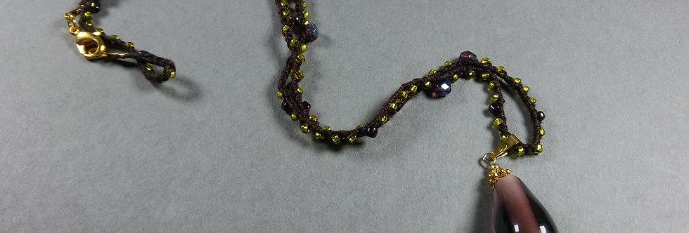 Dark Brown, Green, & Purple Crochet Necklace