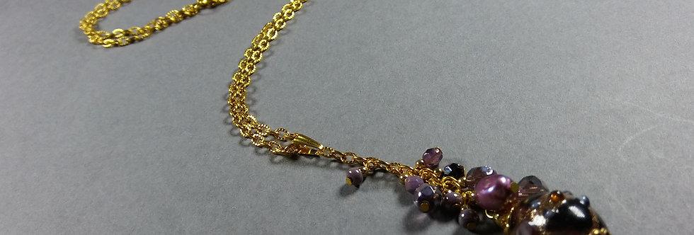 Purple Focal w/Purple & Lavender Necklace