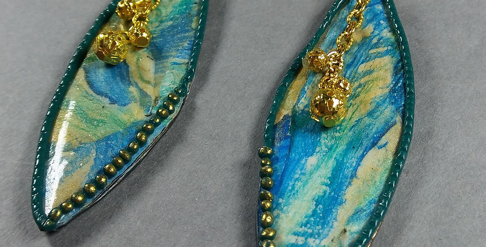 Gold & Turquoise Oval Earrings