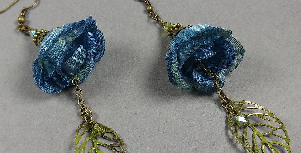 Navy Blue Floral Earrings