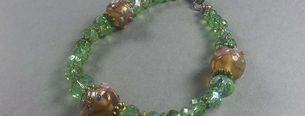 Yellow Gold & Light Green Beaded Bracelet