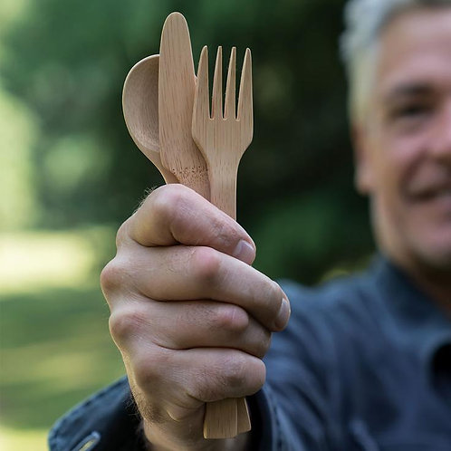 Bamboo Flatware Set - 25 @ of Forks/Knives/Spoons