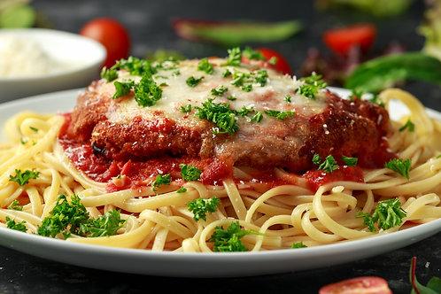 Chicken Parmesan Served over Linguine