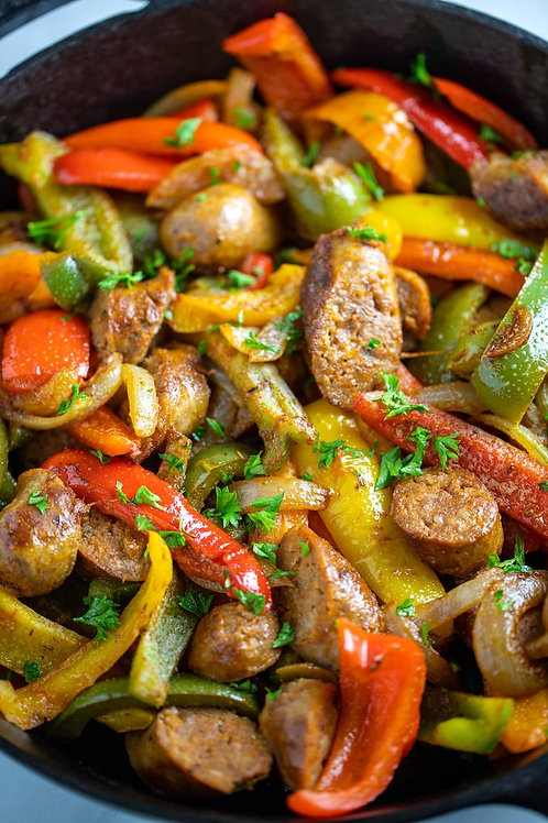 Sausage, Onions & Peppers Sided by Broccolini