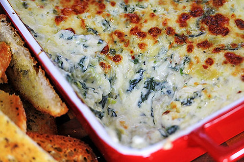 Spinach & Artichoke Dip & Herbed Baguette Crisps - Serves 6-8