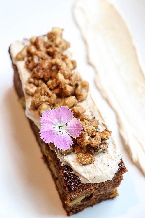 Carrot Cake Slice with Chai Icing & Walnuts