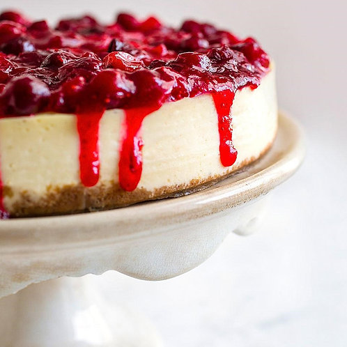 New York Ricotta Cheesecake with Cranberry Raspberry Sauce