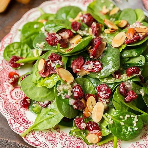 Holiday Spinach Salad with Dried Cranberries, Praline Pecans & Gorgonzola