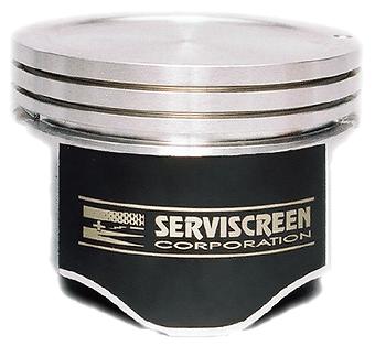 Coated piston with Serviscreen logo