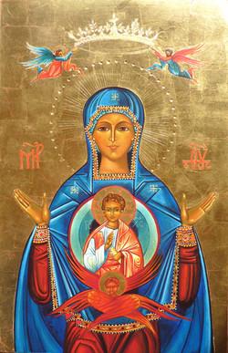 Vierge orante couronnée par 2 anges