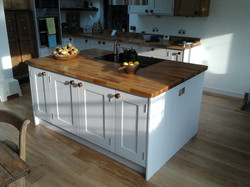 Hand-made and painted kitchen island