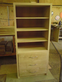 Hand-made bookcase with drawers
