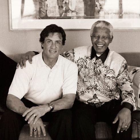 Sylvester Stallone and Nelson Mandela, 2000