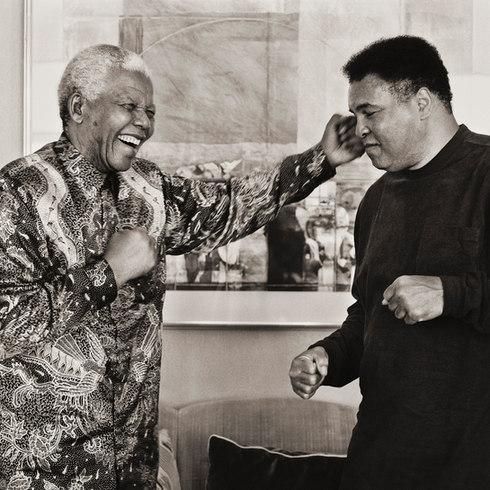 Nelson Mandela and Muhammad Ali, November 2000