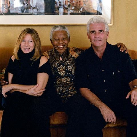 Barbra Streisand, Nelson Mandela, James Brolin, 2000