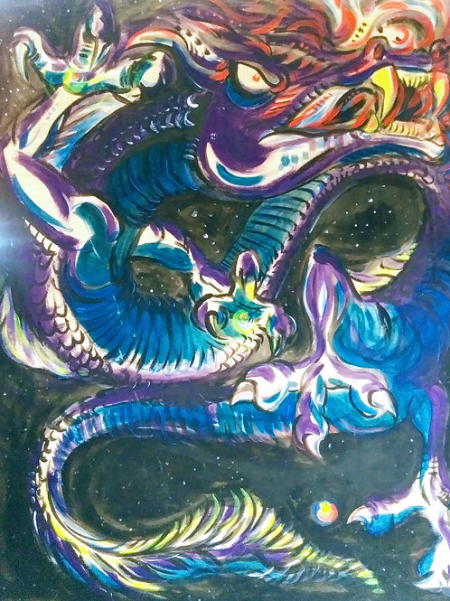 Blk Dragon (3'x4' Original painting *UV*)