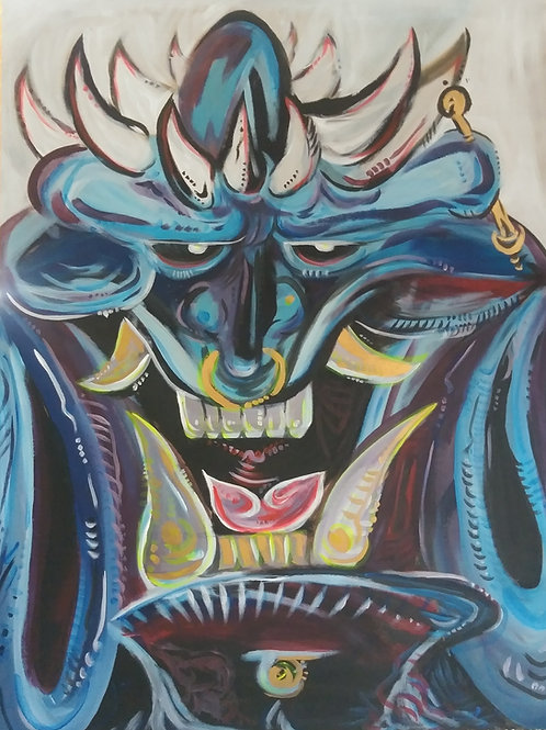 Oni Blu (3'x4' ft Original Painting [double sided]*UV*)