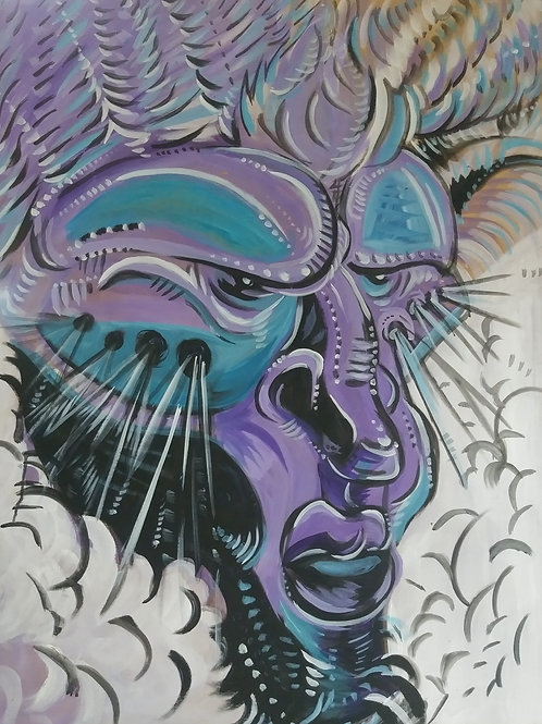 Oni Purp (3'x4' ft Original Painting *UV*)