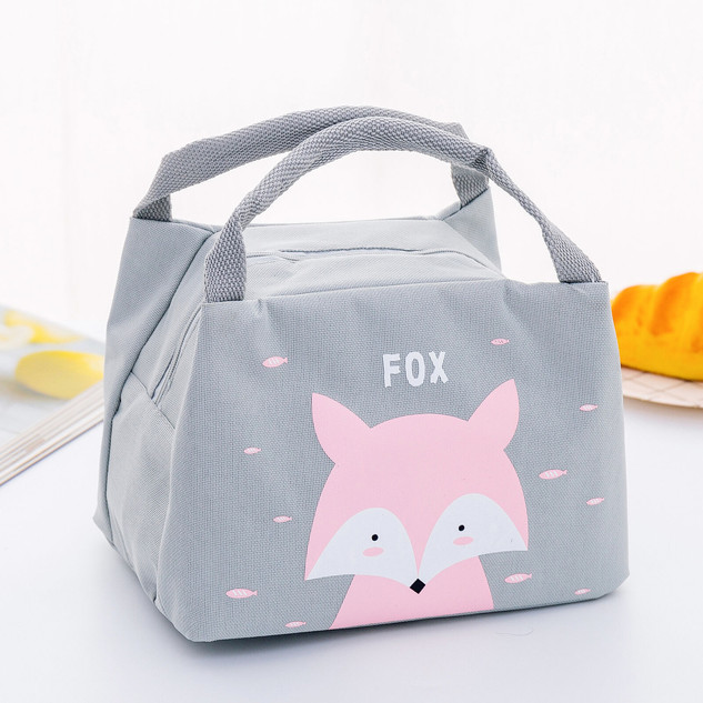 Children Kids Fox Portable Insulated Lunch Bag Box Picnic Tote Cooler foxes