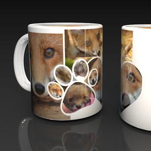 Fox Collage Ceramic Mug with a Hidden QR Code Message