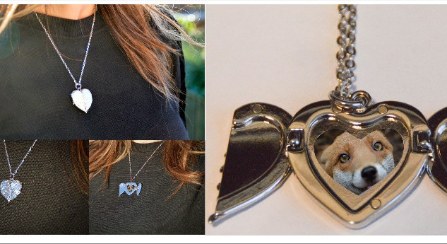 Angel Wings Heart Necklace Locket
