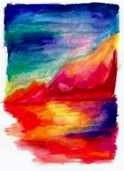 lago rosso tramonto