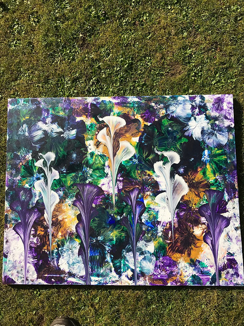 Seven Lillies on purple and gold