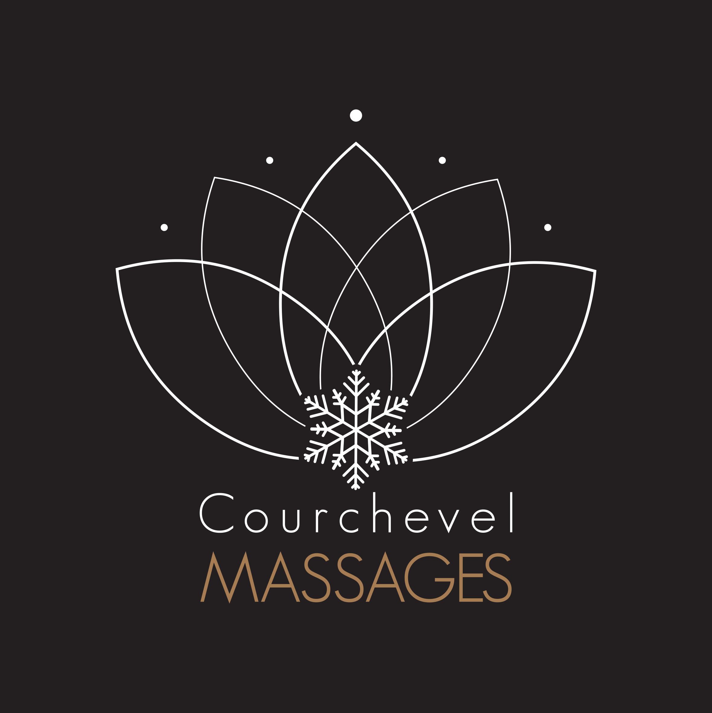 logo Courchevel MASSAGE blanc et or fond
