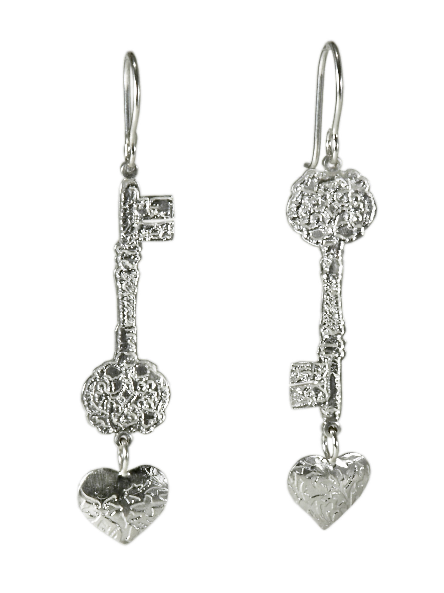 Silver Heart and Key Earrings