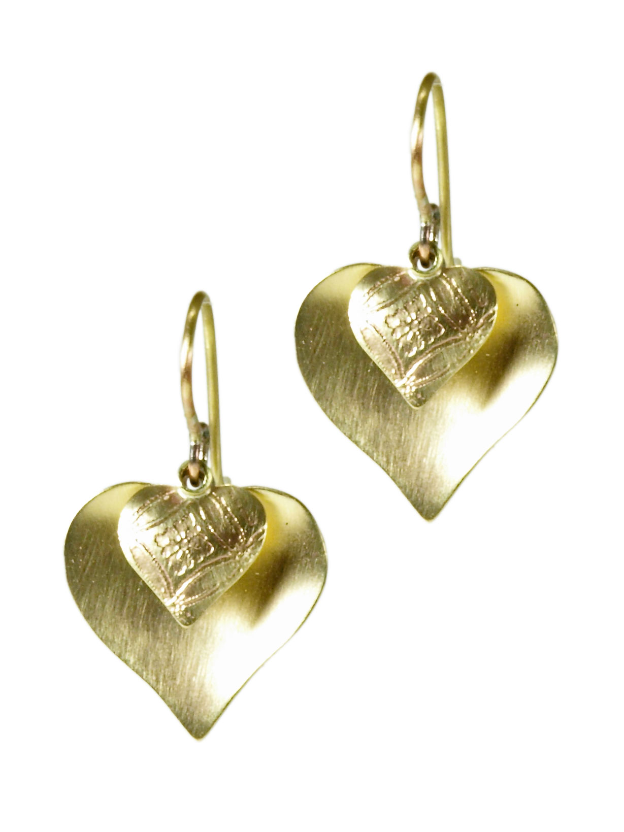 Brass Dual Heart Earrings