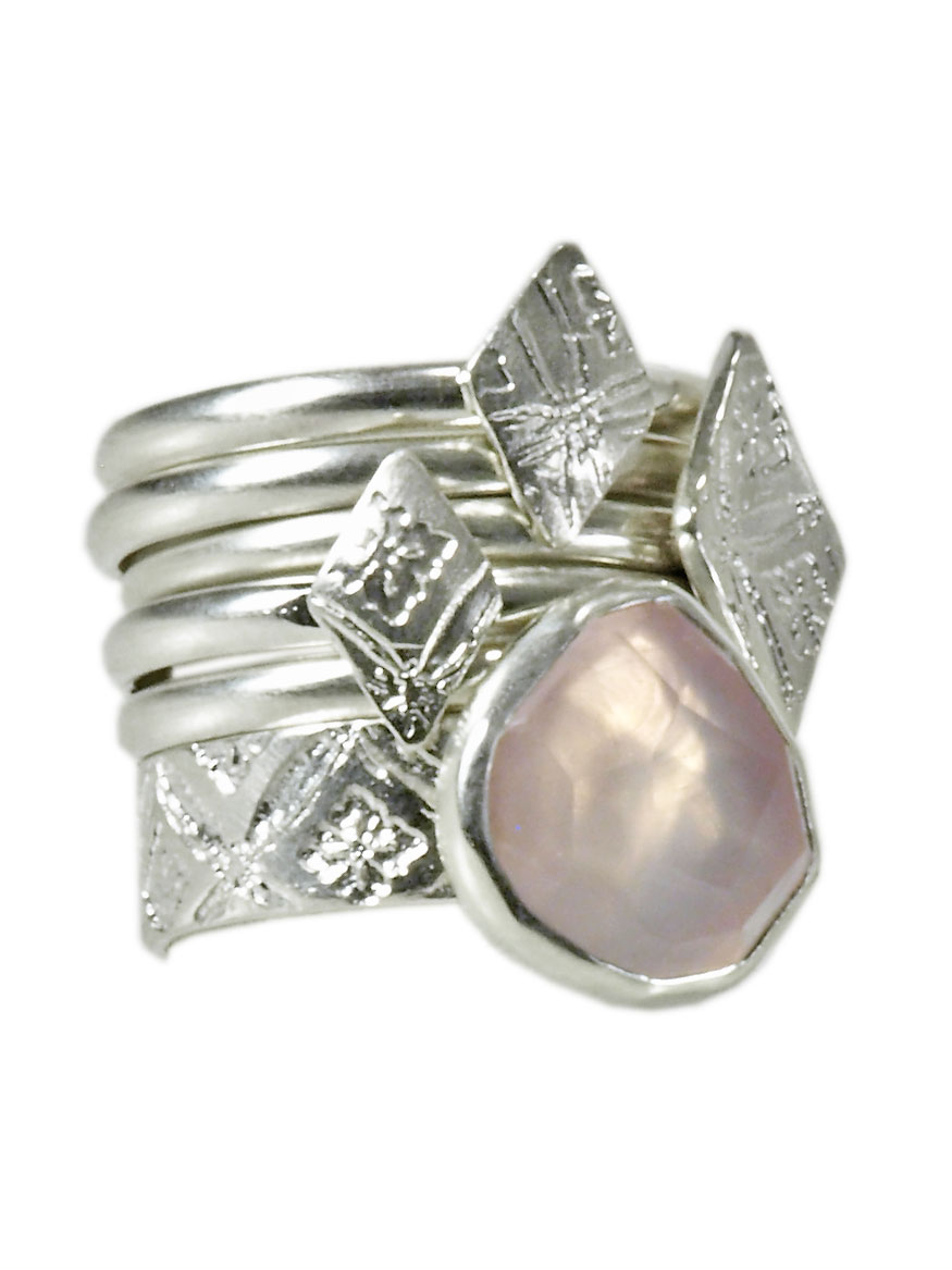 Silver and Rose Quartz Stack Ring