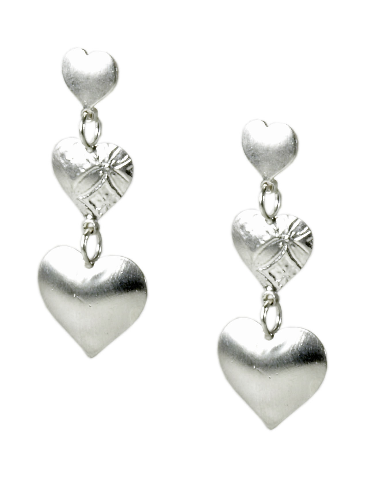 Silver Triple Heart Earrings