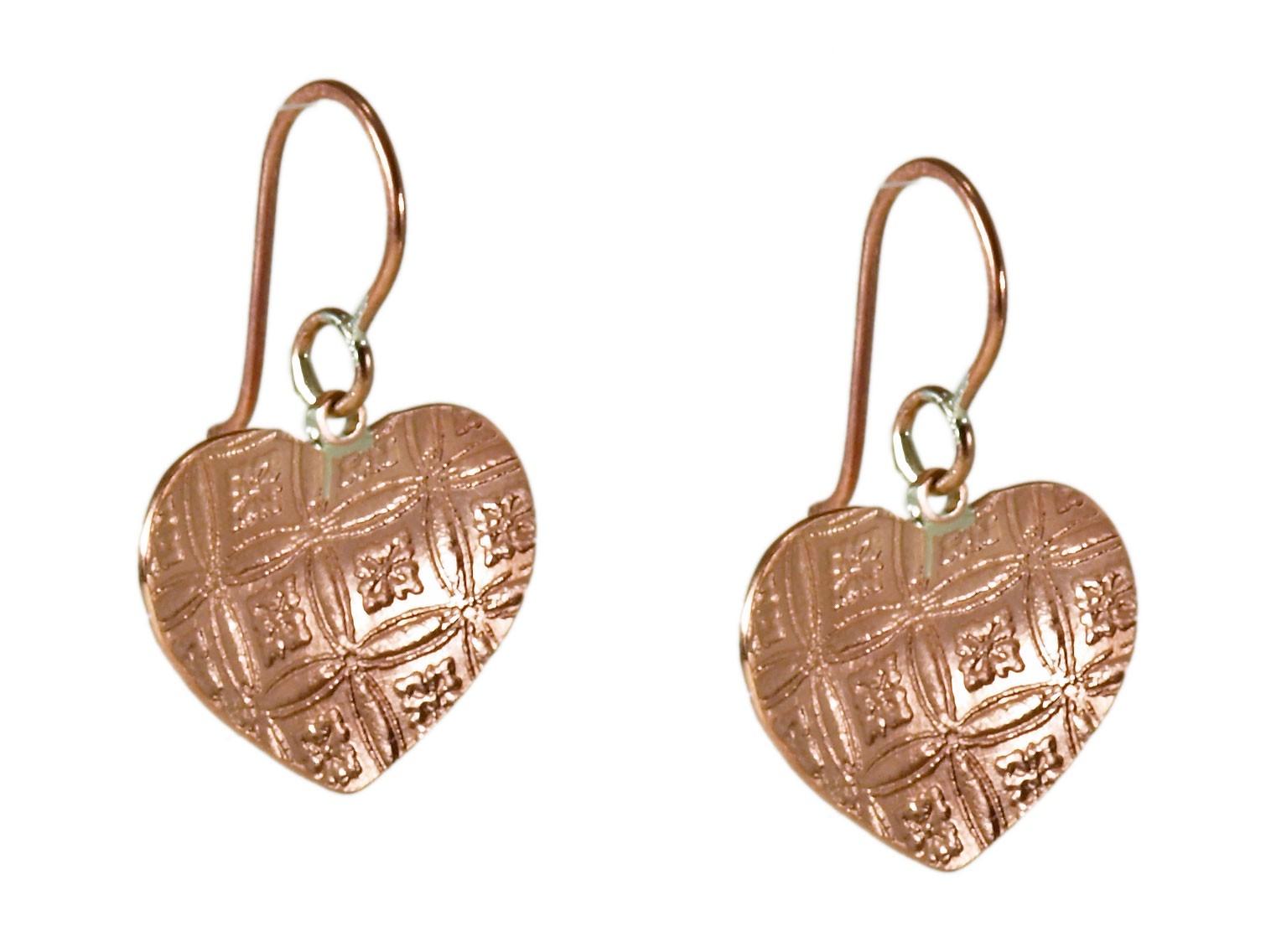 Copper Single Heart Earrings