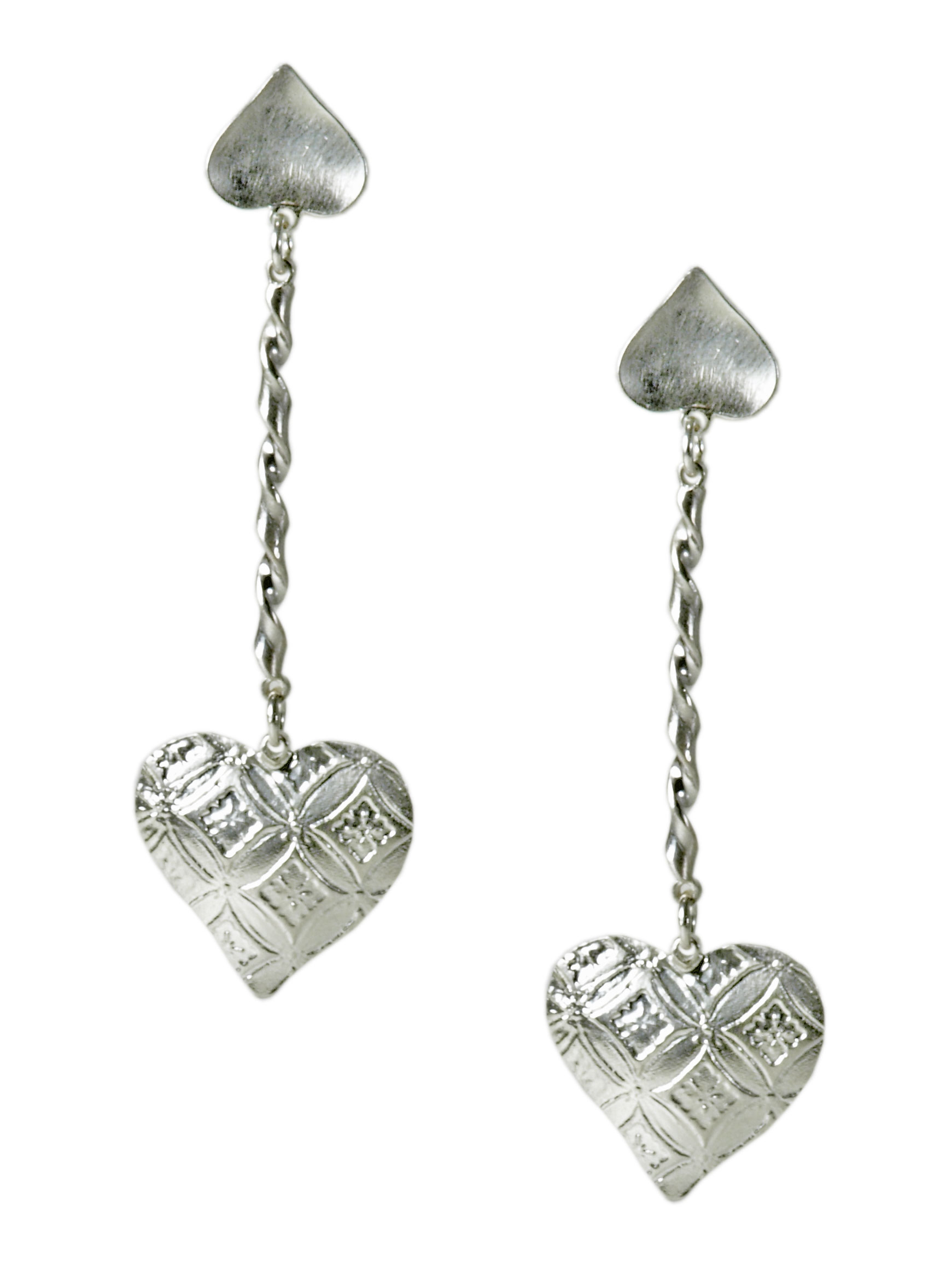 Silver Hearts Aflutter Earrings