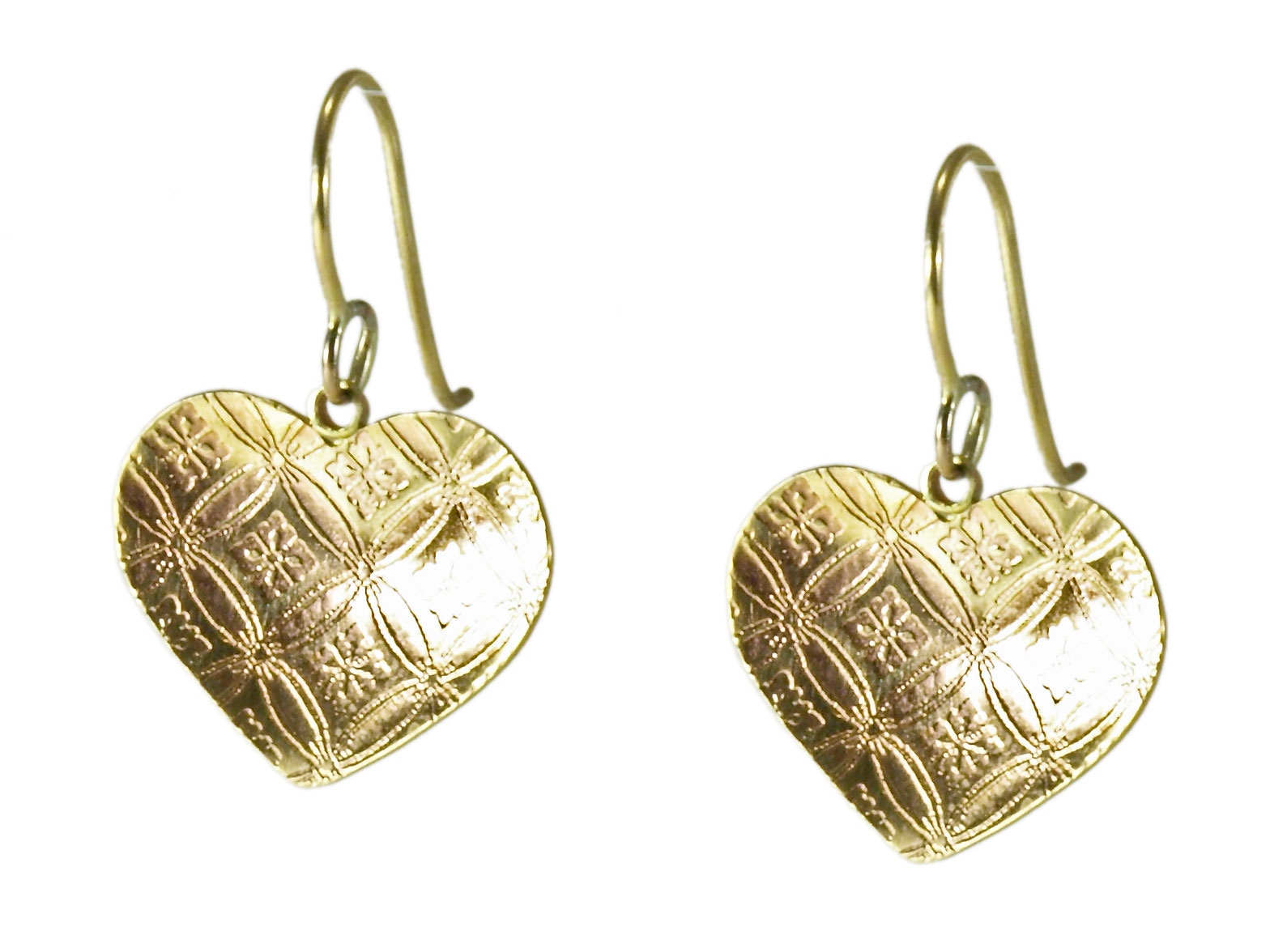 Brass Single Heart Earrings