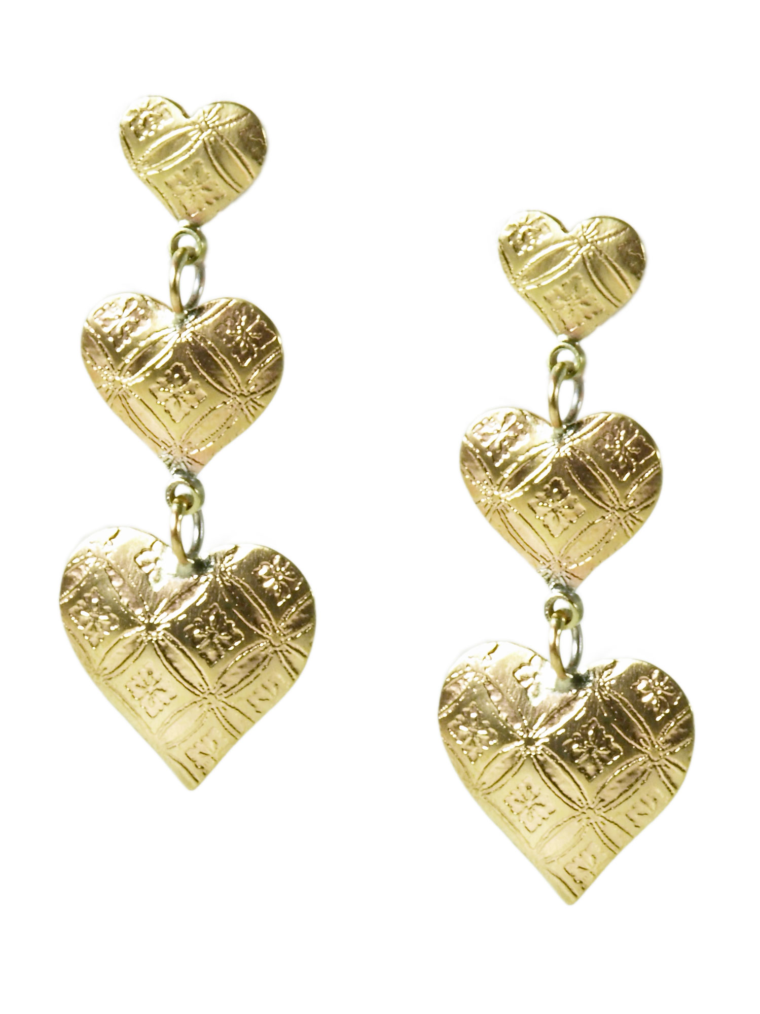 Brass Triple Heart Earrings