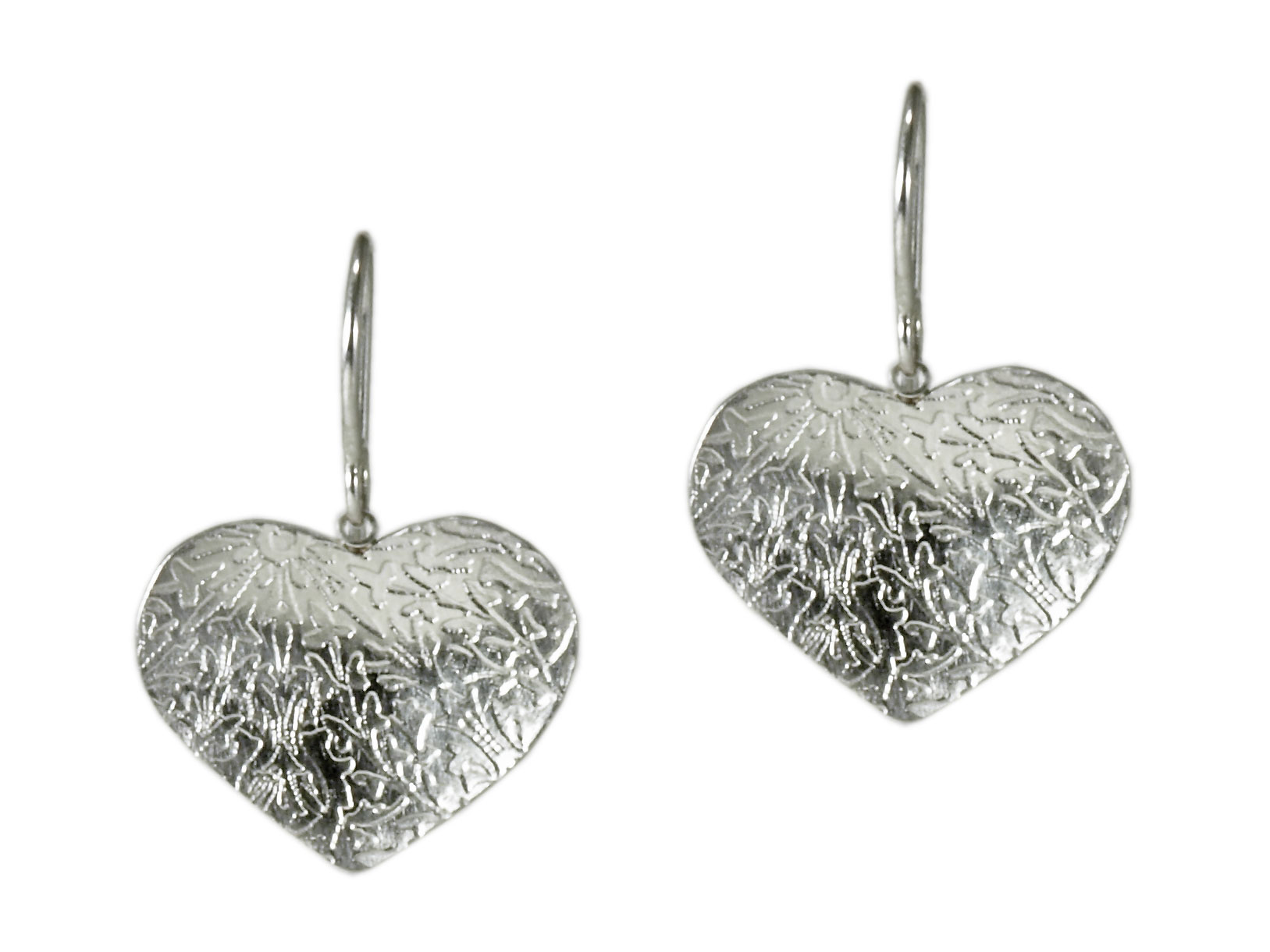 Silver Single Heart Earrings