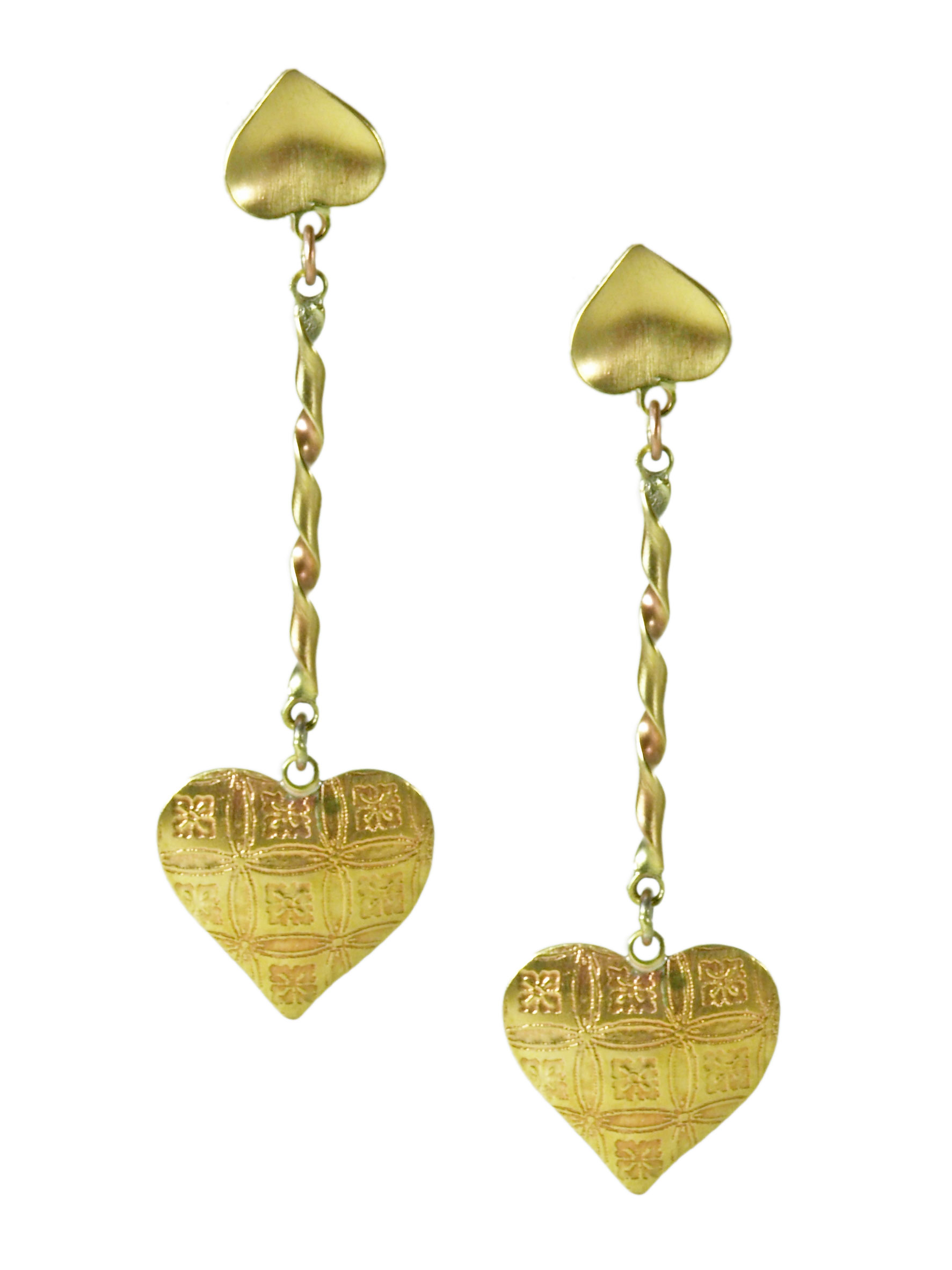 Brass Hearts Aflutter Earrings