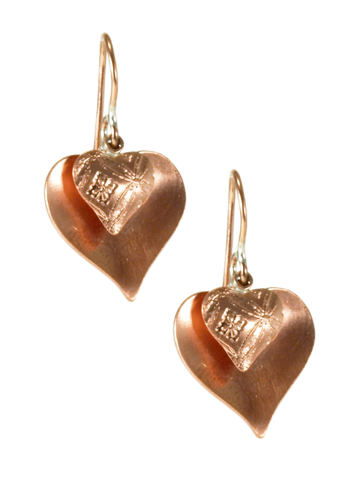 Copper Dual Heart Earrings