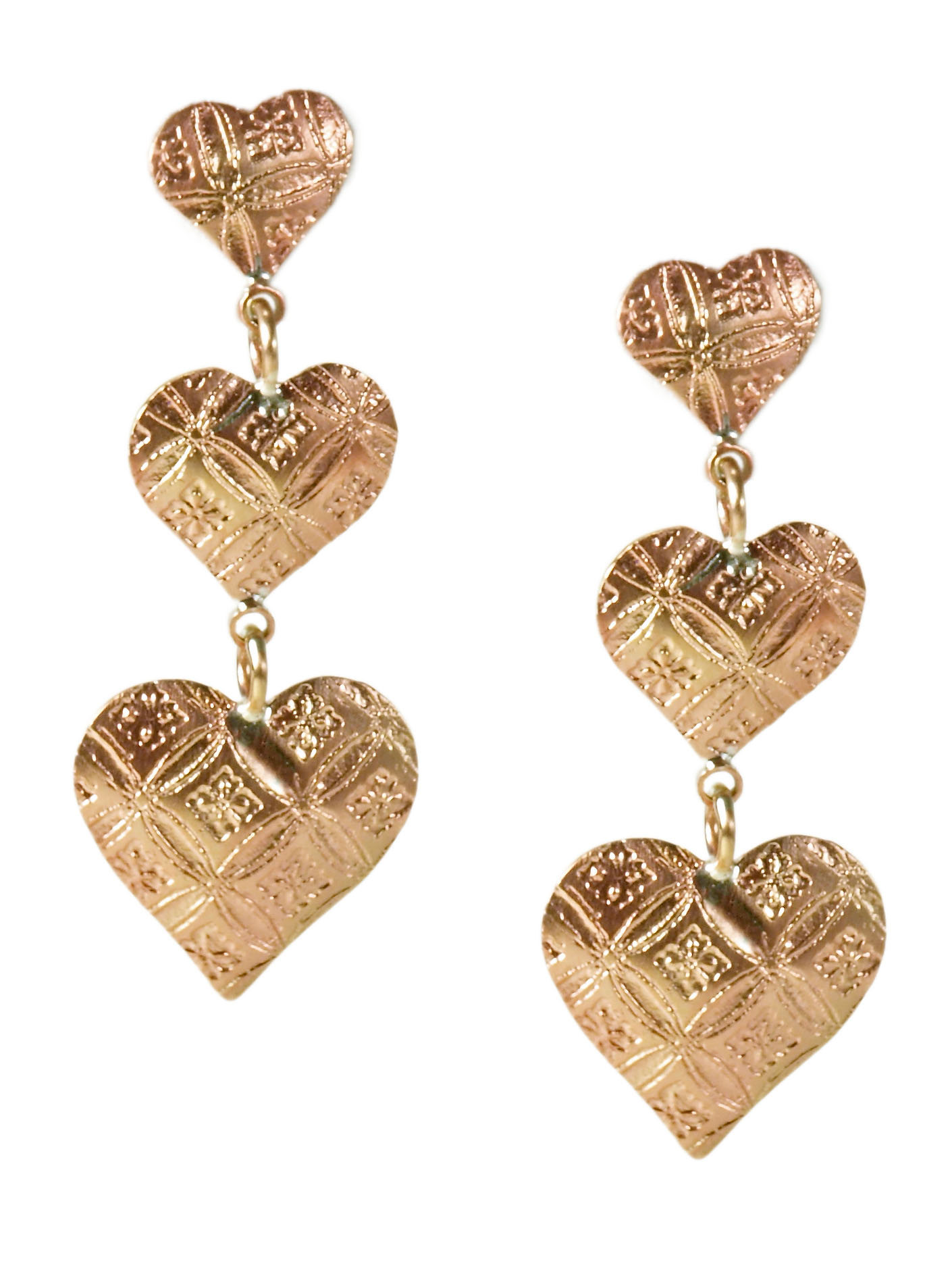 Copper Triple Heart Earrings